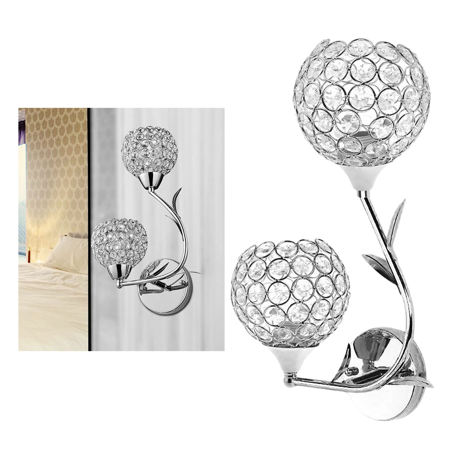Modern Decorative Crystal Wall Lights Bedside Wall Lamp Sconce for DIY Home Decor with E26/E27 Socket Bulb NOT Included