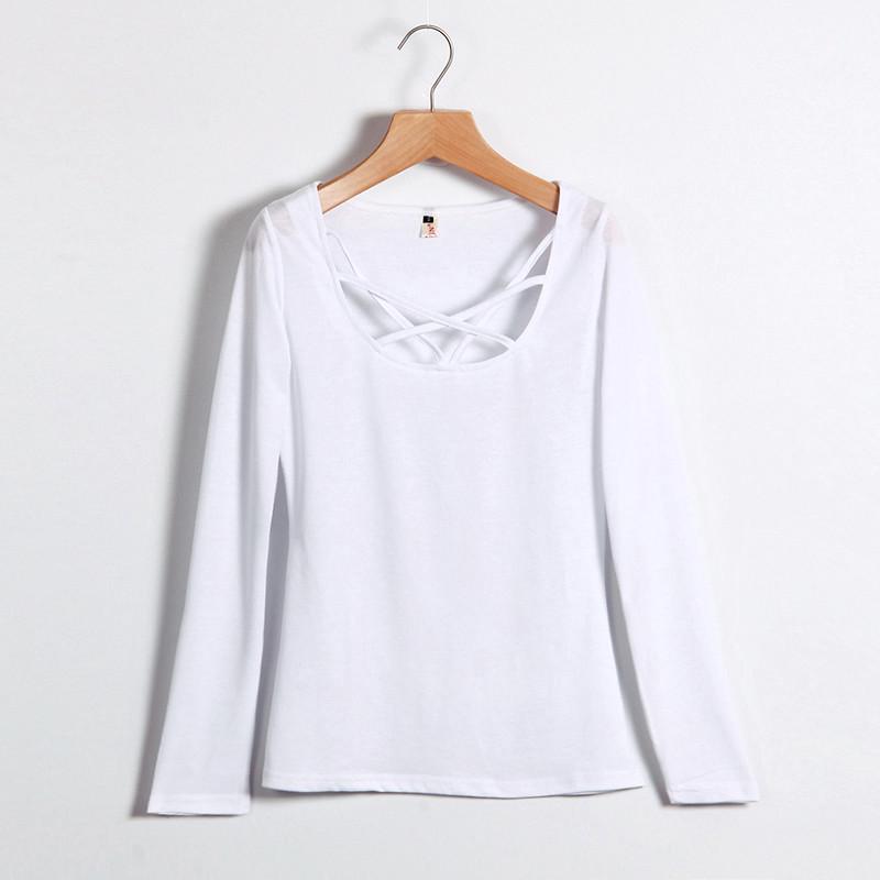 Kobiety Koszulki Z Długim Rękawem Topy Hollow Out Bandaż Swetry Slim Sexy Topy Tees Blusas plus size LJ4515M Femme 3