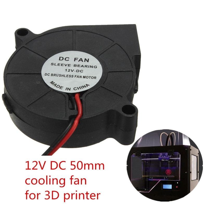 Double 12V DC 50mm Blow Radial Cooling Fan for Electronic 3D Printer Parts ball bearing long life low noisy