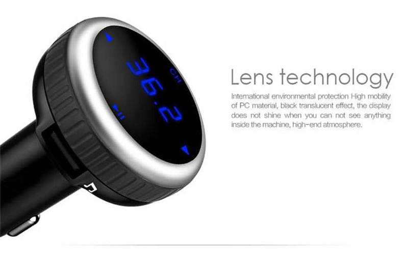 Samochodowy Odtwarzacz MP3 Audio Bluetooth Nadajnik FM Z Pilotem Zestaw Samochodowy Zestaw Głośnomówiący FM Modulator bezprzewodowy Ekran LCD w/TF gniazdo 8