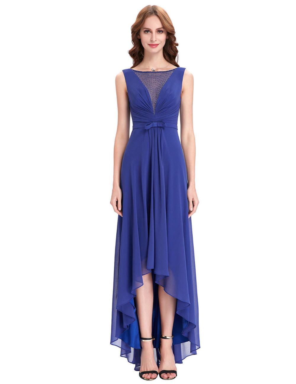 High Low Royal Blue Chiffon Short Front Long Back Bridesmaid Dress 1