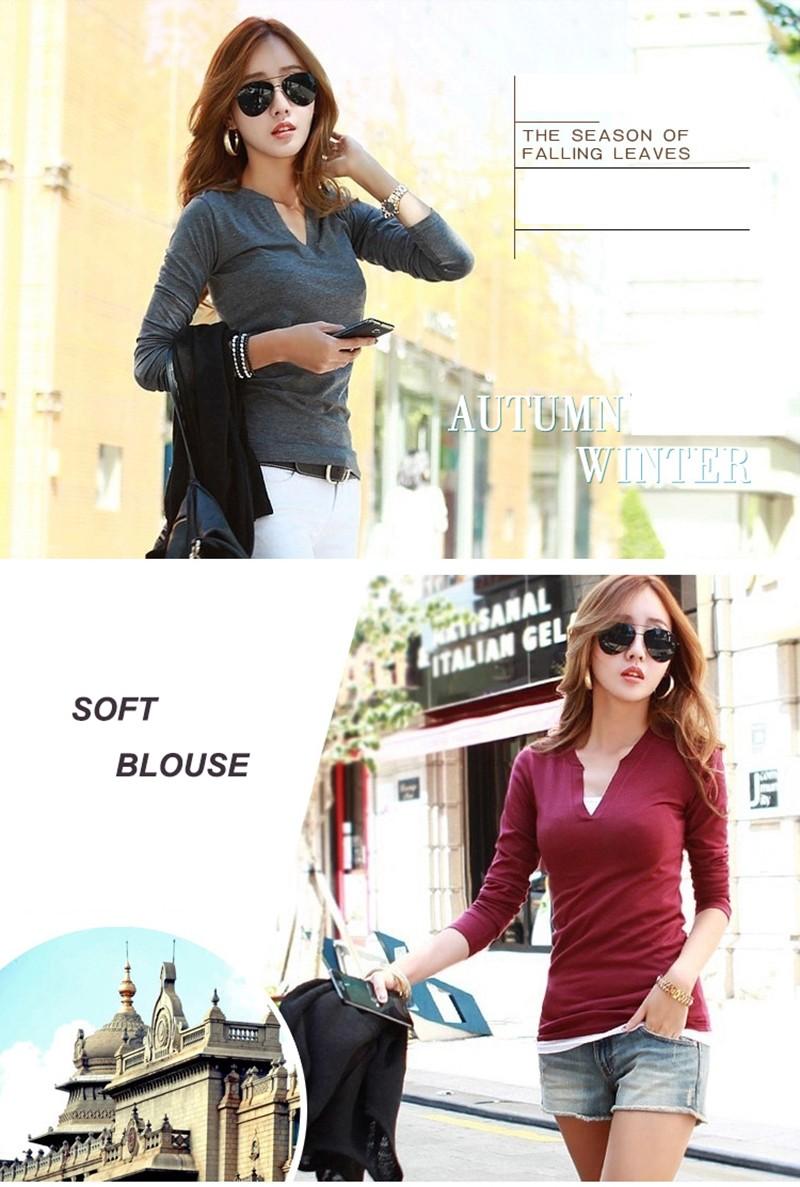 2017 stałe 14 kolory Dekolt Bluzki Sexy Szczupła Dzianiny Długi rękaw chemise femme koreański bluzki dla kobiet koszula clothing góry bluzka 6