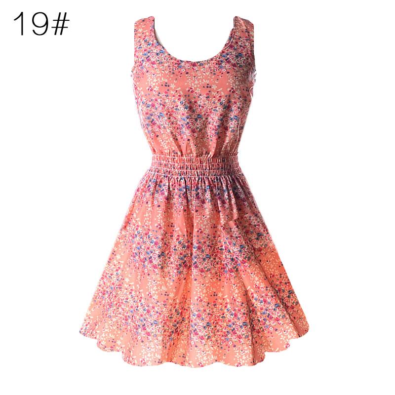 Sexy kobiety chiffon dress sundress plaża floral bez rękawów tank mini sukienki vestido 20