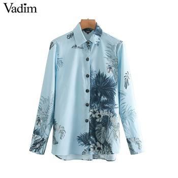 bb2d874ff9 mulheres folhas casual floral imprimir blusa azul de manga longa