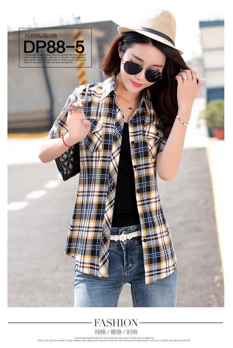 Brand New 2017 Lato Styl Plaid Drukuj Krótki Rękaw Koszule kobiety Plus Rozmiar Bluzki Na Co Dzień 100% Bawełna Topy Blusas 14 kolory 16