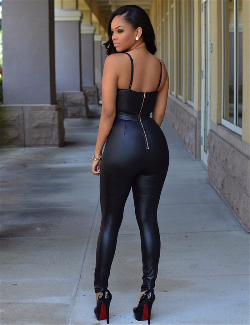 Backless Bandage Smooth Wetlook Tight-fitting Cute Faux Leather Jumpsuit 3