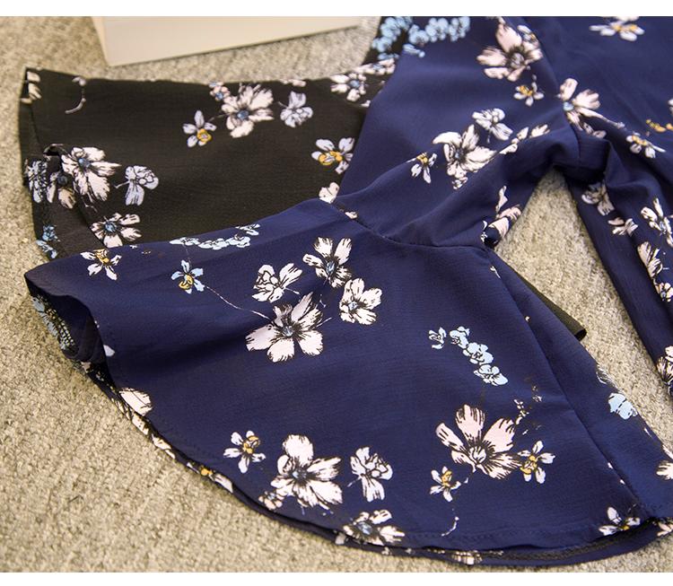 2016 jesień kwiatowy flare rękawem koszula szyfonowa bluzka kobiet topy kobiety biuro panie bluzka koreański fashion blusas chemise femme 12