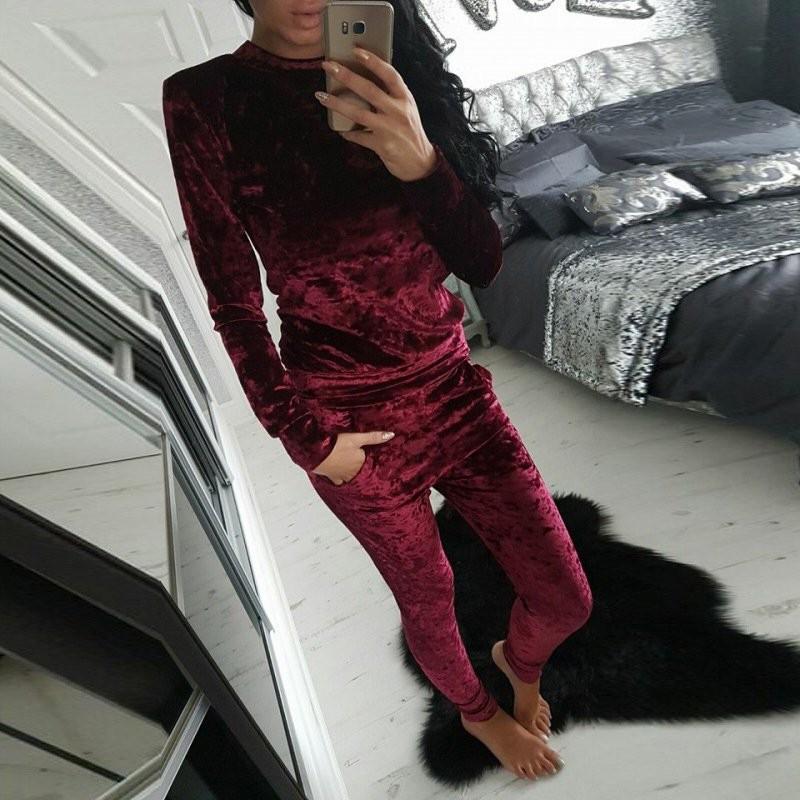 WJ Seksowne Kobiety Dres Ustawia 2017 Nowy Jesień Zima Moda Aksamitne długi Rękaw Bluzy Topy + Spodnie Wąskie Garnitury Femme 2 Sztuka Zestaw 5