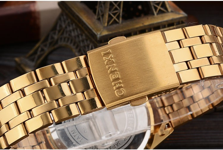Chenxi złoty zegarek męskie zegarki top marka luksusowe znani zegarek męskie złoty zegarek kwarcowy kalendarz zegar relogio masculino 14