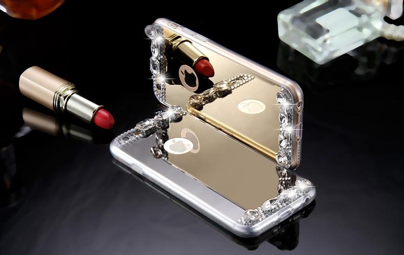 Dla iphone 6 7 case glitter lustro sprawach phone bag dla iphone 7 6 6 s plus 5S 5 se diamond case do samsung s8 plus s6 s7 krawędzi 6