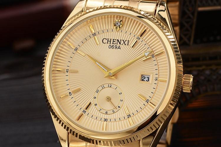 Chenxi złoty zegarek męskie zegarki top marka luksusowe znani zegarek męskie złoty zegarek kwarcowy kalendarz zegar relogio masculino 9
