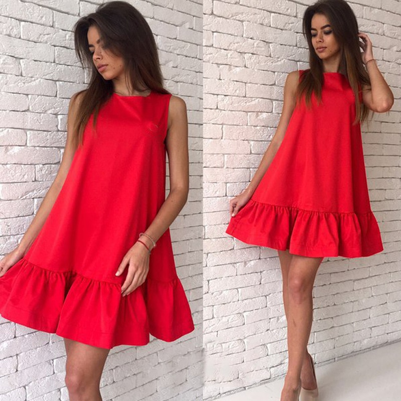 2017 damska vestidos sexy ruffles dress lato casual linia bez rękawów bodycon dress kobiety party plus rozmiar krótki mini suknie 5