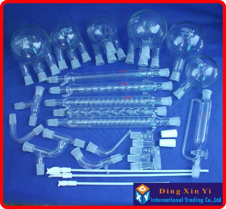 28 pcs Boro 3.3 Glass chemistry Laboratory glassware kit, vacuum distillation unit,flask+condenser pipe+PTFE Stirrer and so on