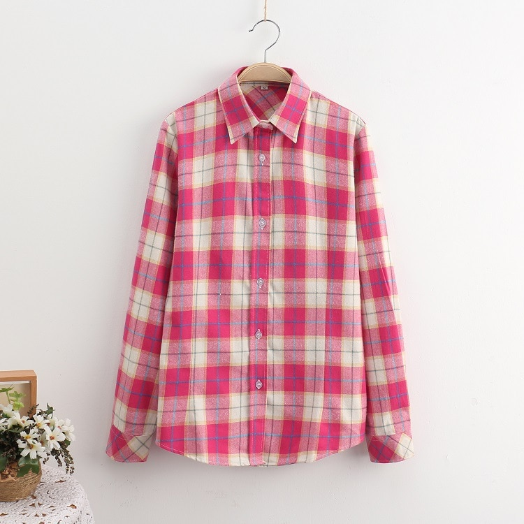 2016 Moda Plaid Shirt Kobiet College style damskie Bluzki Z Długim Rękawem Koszula Flanelowa Plus Rozmiar Bawełna Blusas Biuro topy 11