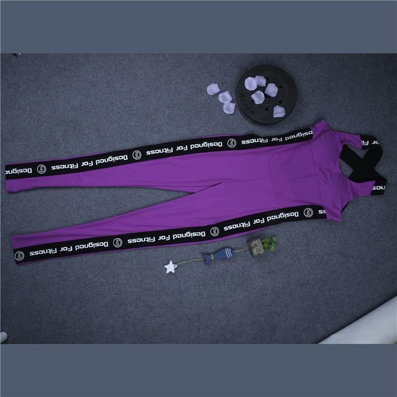 Wysokiej Jakości Centrum Sporting Akrylowe Patchwork Body poprzeczne pasy powrót Playsuit Kombinezon Macacao Kobiet Fioletowy I Szary 12