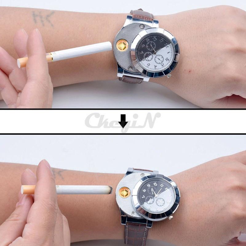 Moda F667 Akumulator USB Zapalniczki Zegarki Elektroniczne Bezpłomieniowe Zapalniczki Wiatroszczelna męska Casual Kwarcowe Zegarki Na Rękę 15