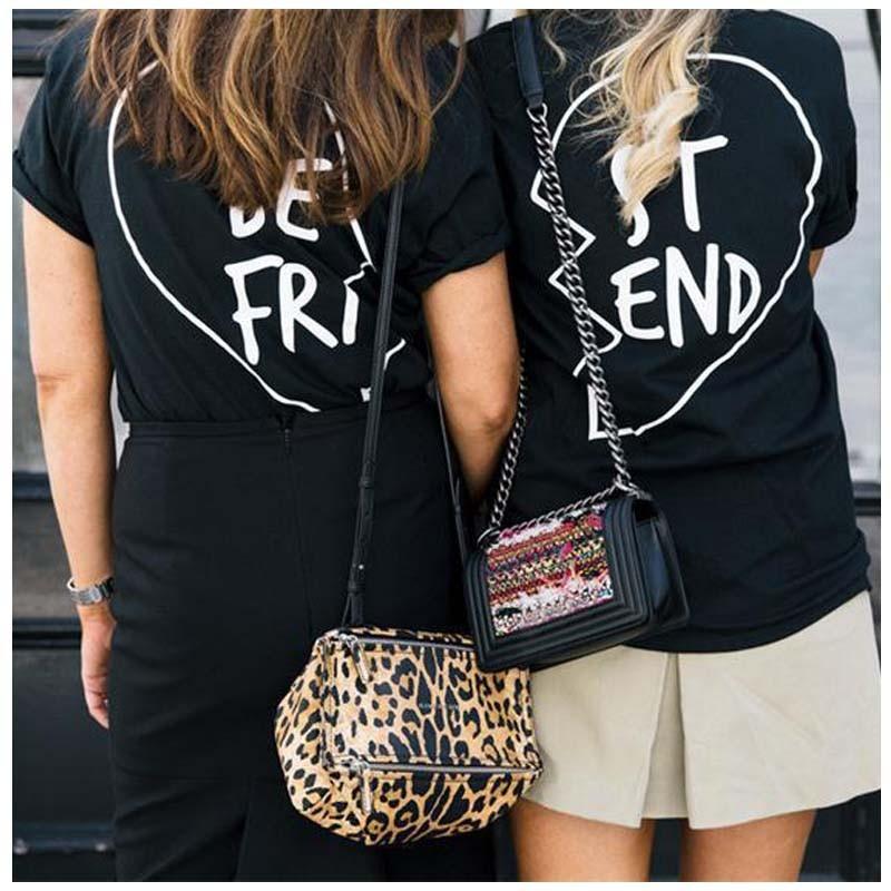 2016 Lato Best Friends T Shirt Drukuj List BYĆ PT ST KONIEC Kobiet T-shirt Mody Krótkim Rękawem Odzież Damska Biała czarny 3