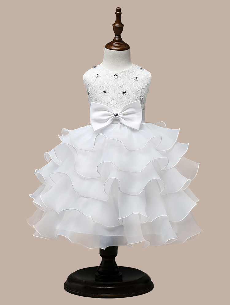 0-7 Years Mutlti Layer White Pink Flower Girl Dress 11