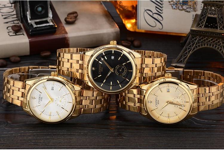 Chenxi złoty zegarek męskie zegarki top marka luksusowe znani zegarek męskie złoty zegarek kwarcowy kalendarz zegar relogio masculino 3