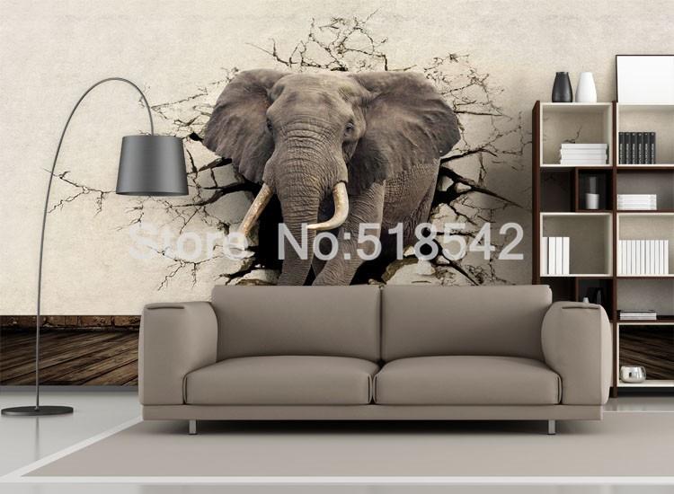 Dostosowane fototapety 3d realistyczne mural nosorożec zwierząt lew słonie włókniny sypialnia mural home decor tapety ścienne 3d 6