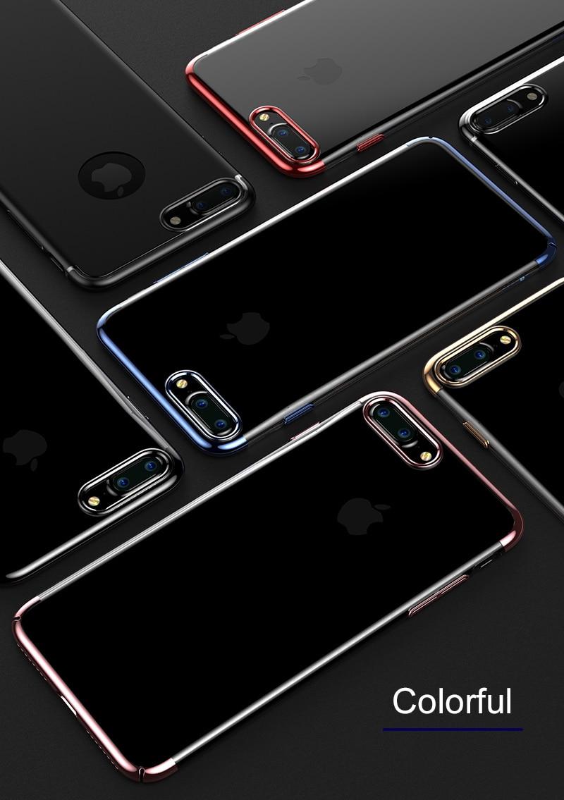 Baseus pc hard case dla iphone 7 pokrywa dla iphone 7 plus case anti-scratch galwanizacja telefon torba ochronna shell coque 2