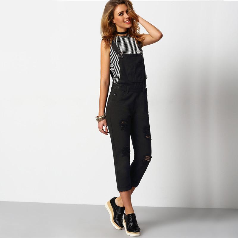 Shein kobiety kombinezon denim kombinezony 2016 wiosna jesień czarny pasek kieszenie pełna długość denim jeans ripped kombinezon 5