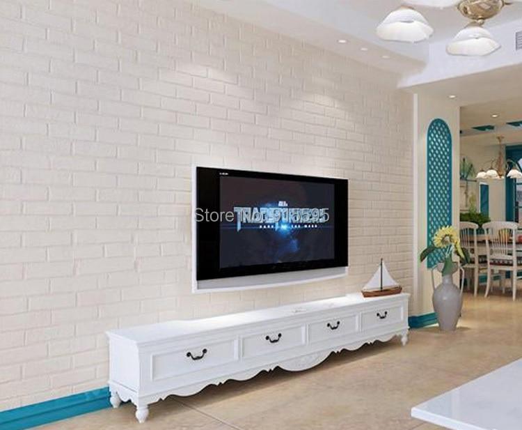 Off Biały 3D Nowoczesny Design Cegła Tapety Rolki Winylu Oblicowywanie Ścian Tapety Do Salonu Jadalni Sklep Tle 5