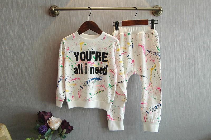 Ali Królik 2 SZTUK topy + spodnie Toddler dziewczyna odzież kolorowe drukowanie dziewczyny ubrania dres dziewczynek dzieci 2 3 4 5 lat 7 tkaniny 14