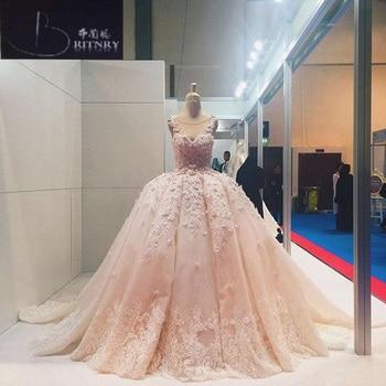 1370d339b6 2018 Blush Pink Wedding Dress Ball Gown Lace Appliques Beaded Wedding