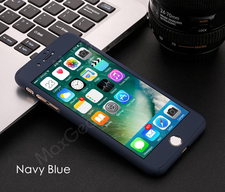 Luksusowe Piano Black 360 Stopni Ciężka PECET Skrzynki Dla Apple iPhone 5 5S SE 6 6 S 7 Plus Szczupła Całe Ciało Pokrywa Capa + Szklany Ekran Protector 23