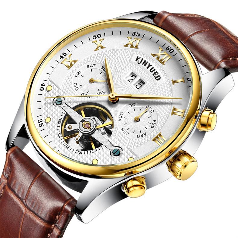 Kinyued Skeleton Watch Mężczyźni Automatyczna Wodoodporna Top Marka Męskie Zegarki Mechaniczne Skóry Kalendarza Złota Róża Relógio Masculino 6
