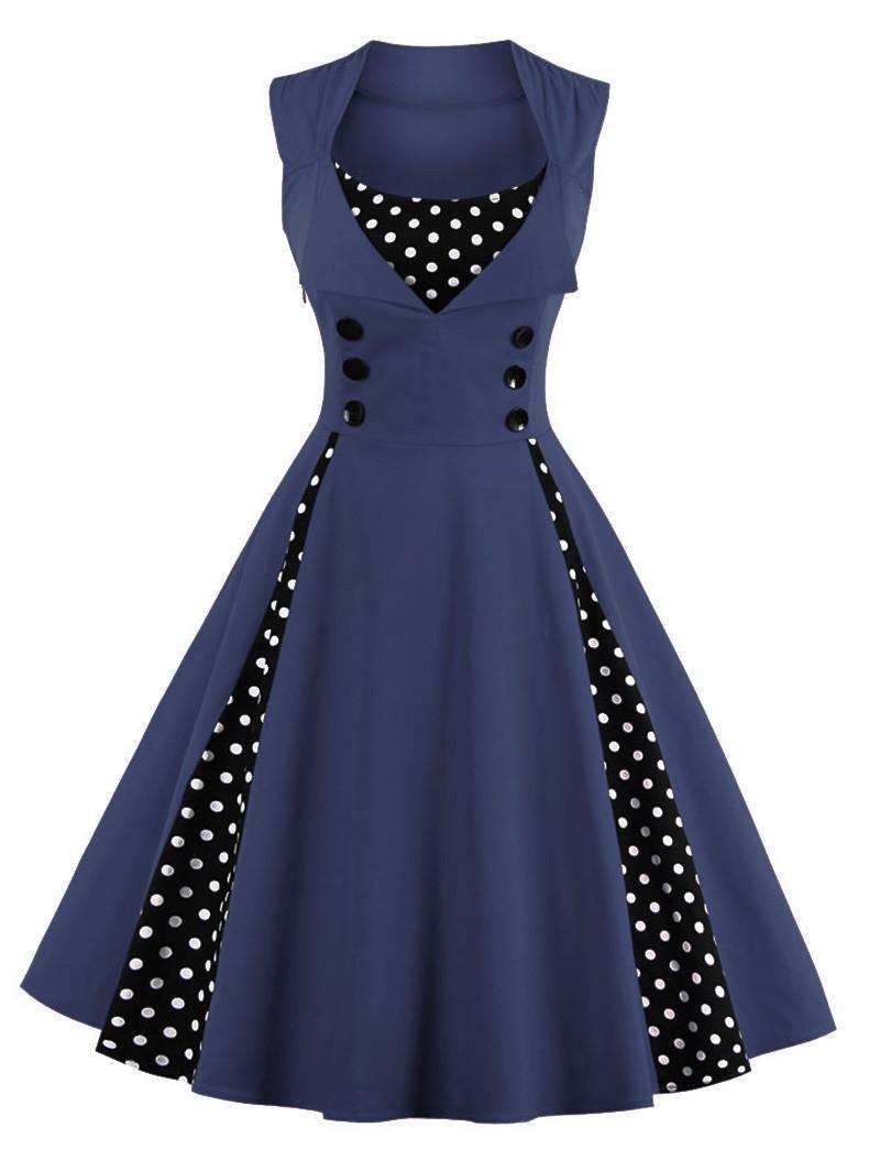 S-4xl kobiety robe pin up dress retro 2017 vintage 50 s 60 s rockabilly dot huśtawka lato kobiet suknie eleganckie tunika vestido 3