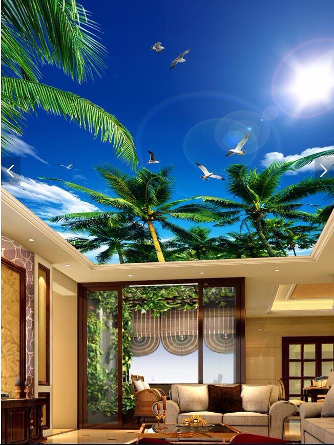 custom 3D wallpaper living room Blue sky palm sun smallpox top Art Hotel Restaurant mural murals-3d wall papers home decor 4