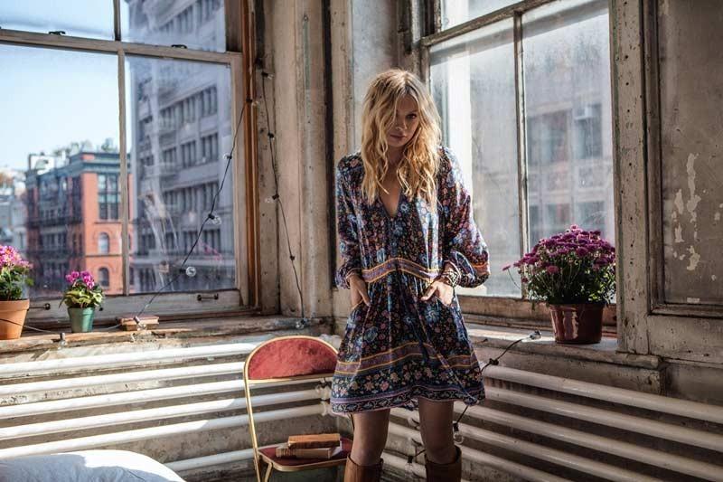 Boho zainspirowany 2017 letnie sukienki kwiatowy print cotton backless długi maxi dress hippie chic ruffles rękawem kobiety sexy vestidos 17