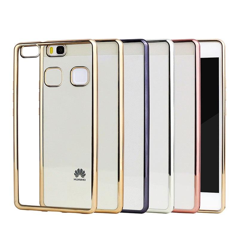 Poszycie telefon skrzynka dla huawei p9 lite pokrywa silikonowa ultra cienkie miękkie przezroczysty tpu tylna pokrywa dla huawei p9 lite luksusowe złota 1