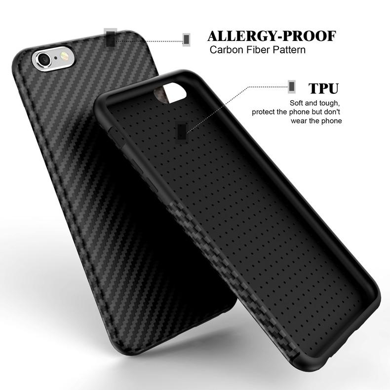 Najnowszy środowiska carbon fiber case dla iphone 6 6s plus miękkie antypoślizgowa anti-puk pokrywy dla iphone 7/plus skóra skóra torba 1