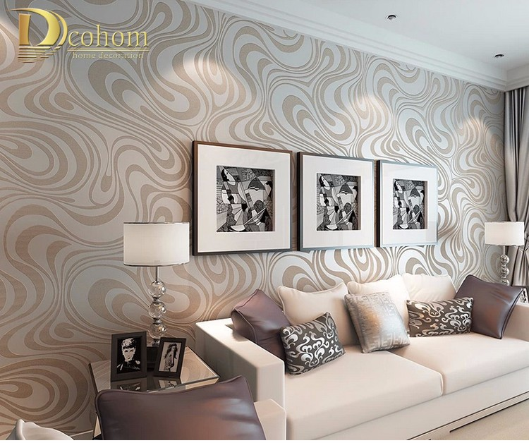 Wysokiej jakości 0.7 m * 8.4 m nowoczesny luksus 3d tapety rolki mural papel de parede uciekają na paski ściany papier 5 kolor r136 7