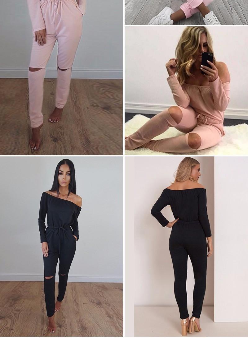 6 Kolor Nowy Pajacyki kobiet Kombinezon 2016 Sexy Off Ramię Z Długim Rękawem Jesień Elegancki Bodycon Body Bandaż Kombinezony 5