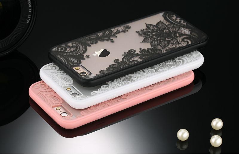 Sexy retro floral phone case dla apple iphone 7 6 6 s 5 5S SE Plus Koronki Kwiat Dysk PC + TPU Przypadki Back Cover Capa Dla iPhone7Plus 6