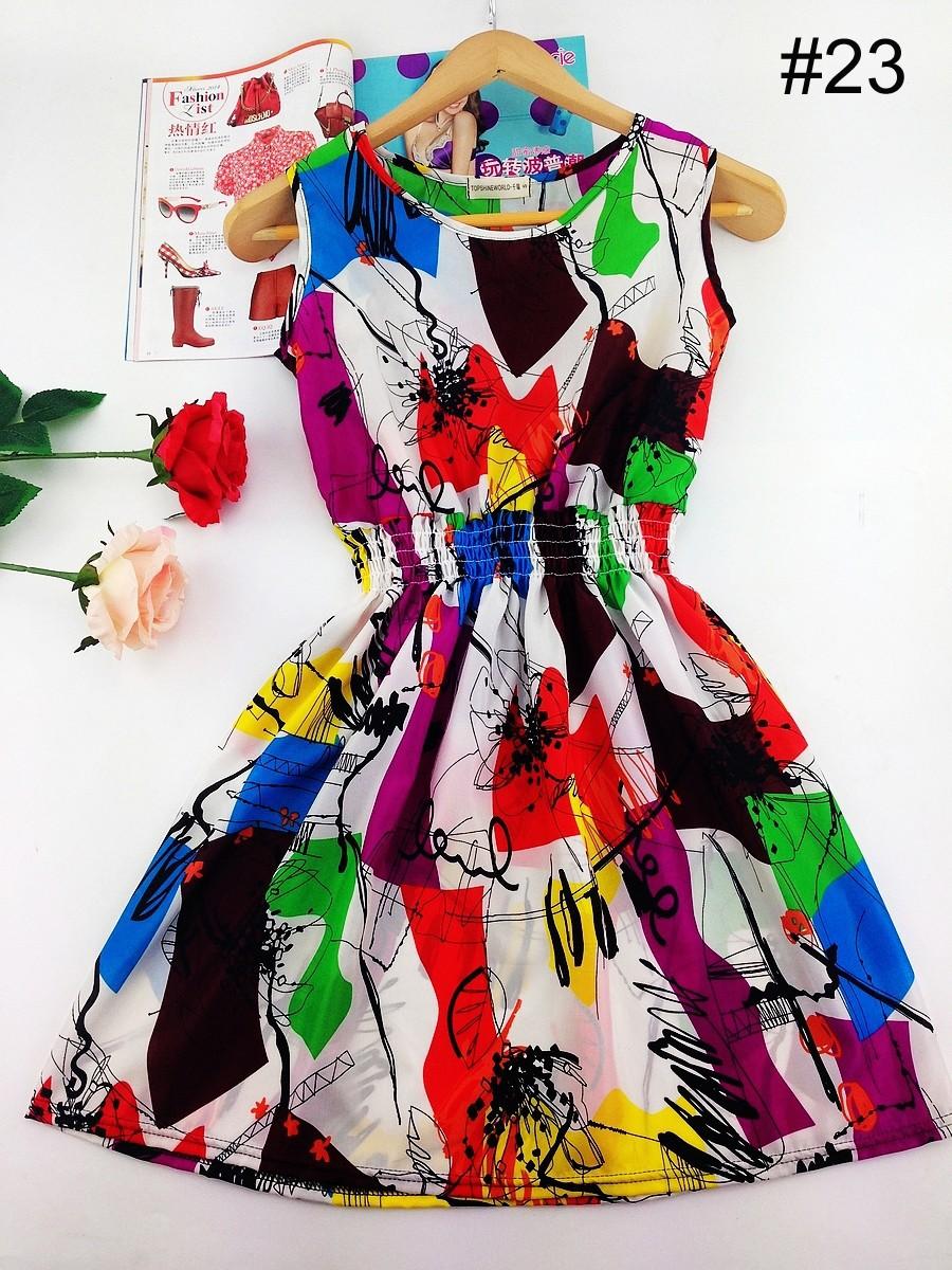 2017 lato jesień nowe koreańskie kobiety dorywczo czeski kamizelka bez rękawów lamparta kwiatów drukowane plaża chiffon dress vestidos wc0344 27