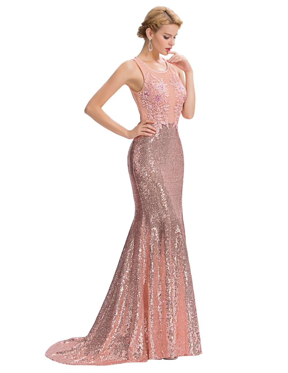 Elegant Pink Sequin Floor Length Backless Lace Mermaid Evening Dress 9
