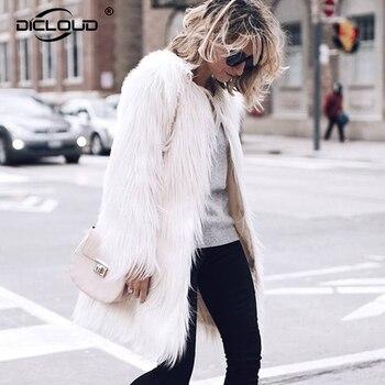 dc4c9dbea Plus size 4XL Elegant Faux Fur Coat Women 2018 Fluffy Warm Long