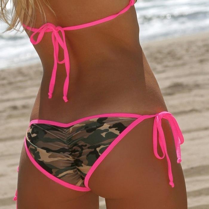 2017 Hot Sprzedaż Lato Kobiety Sexy Kamuflaż Bikini Set Stroje Kąpielowe Kostium Kąpielowy Lace Up Top Push Up Biustonosz + Figi Zestawy B2Cshop 4