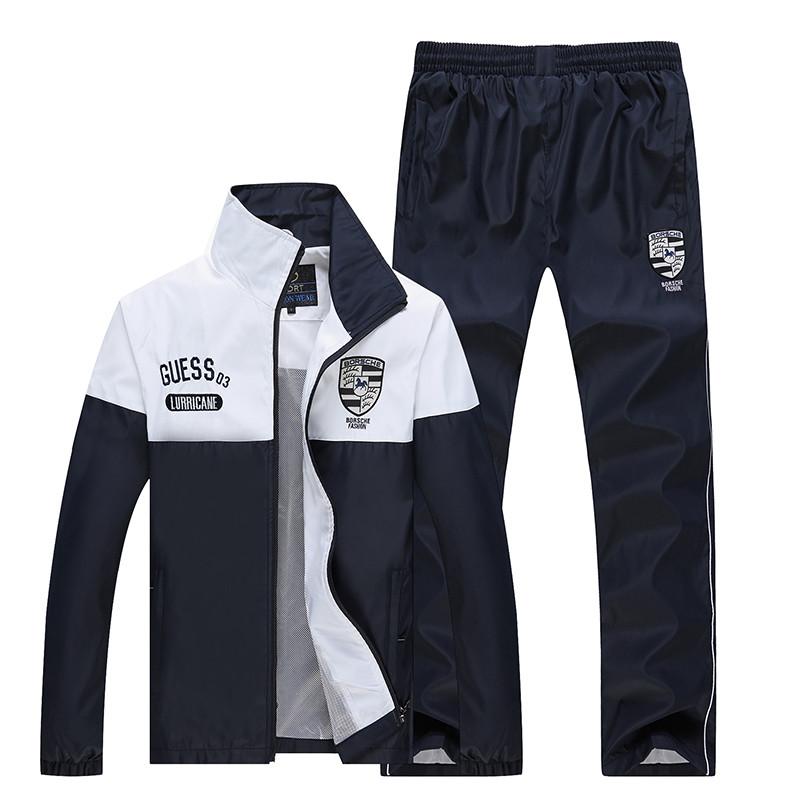 New Arrival Marka Dres Casual Sporta Kostiumu Mężczyźni Mody Bluzy Zestaw Kurtka + Spodnie 2 SZTUK Poliester Sportowej Mężczyzn 4XL 5XL SP019 14