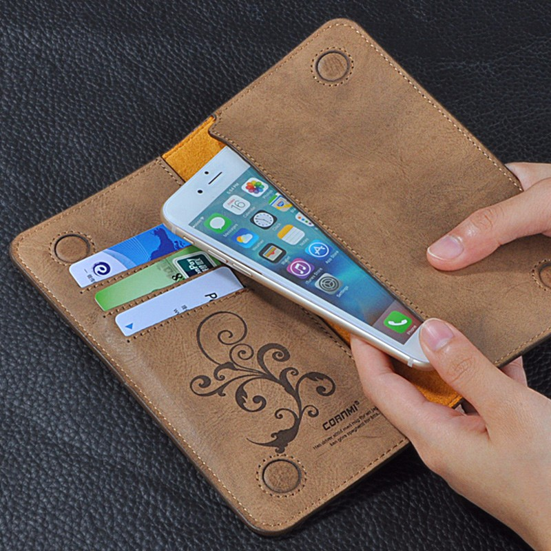 5.5 Uniwersalny Vintage Odwróć Skórzany Portfel Etui Do IPhone 5 6 7 Plus dla HTC Huawei LG Sony Dla Samsung S4 S6 Krawędzi Uwaga 7 Case 5
