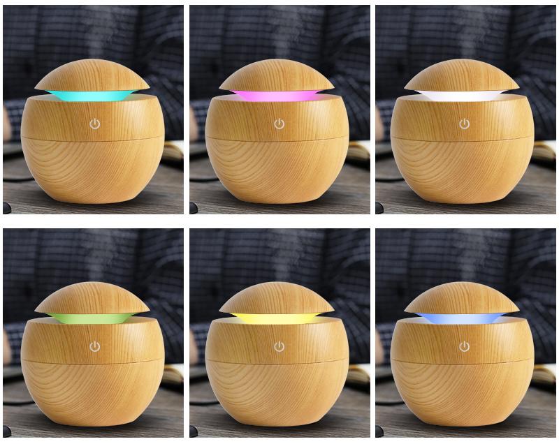 Mini puidust aroomiteraapia õhuniisutaja – värvi muutvate LED tuledega