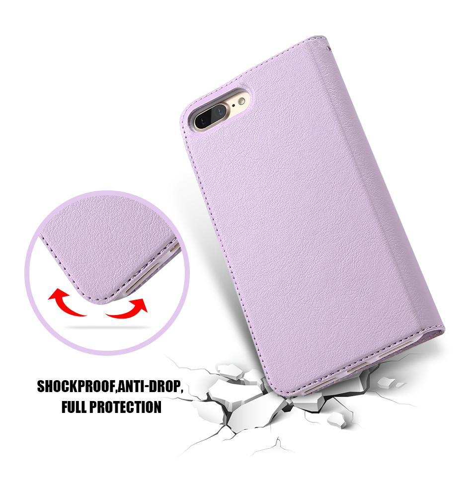 Kisscase candy kolor skóry case dla iphone 7 7 plus odwróć karty portfel slot case pokrywa dla iphone 6 6s plus 5S 5c 4S z logo 4