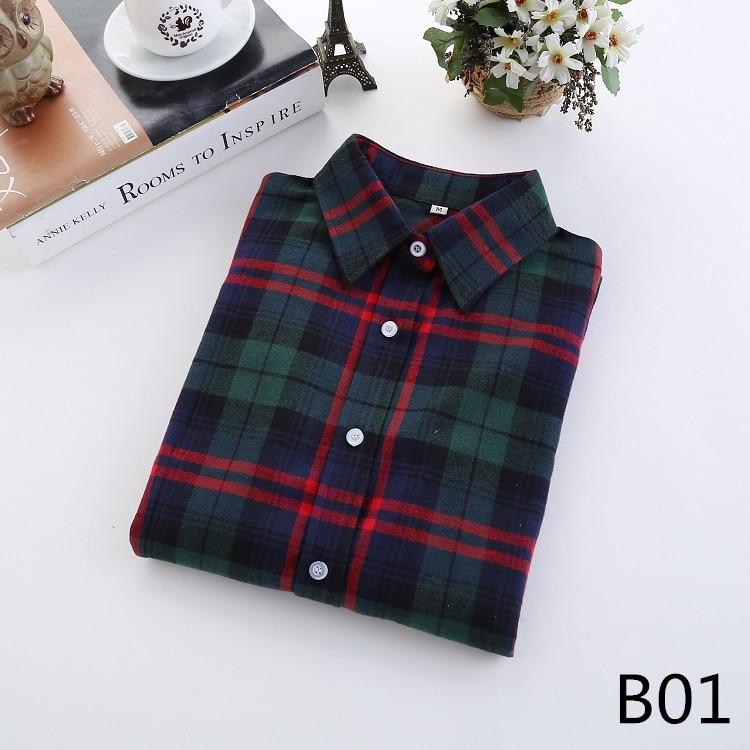 2016 Moda Plaid Shirt Kobiet College style damskie Bluzki Z Długim Rękawem Koszula Flanelowa Plus Rozmiar Bawełna Blusas Biuro topy 2