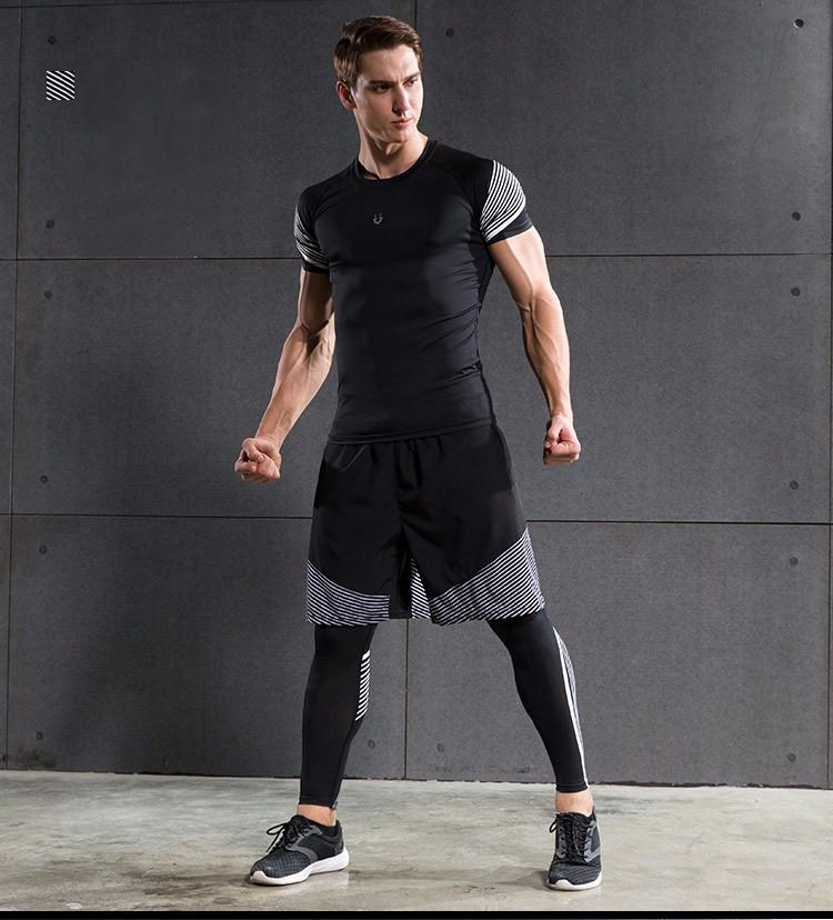 3 Sztuka Zestaw męska sport przebiegu stretch rajstopy legginsy + t shirt + spodenki spodnie treningowe jogging fitness gym kompresji garnitury 25