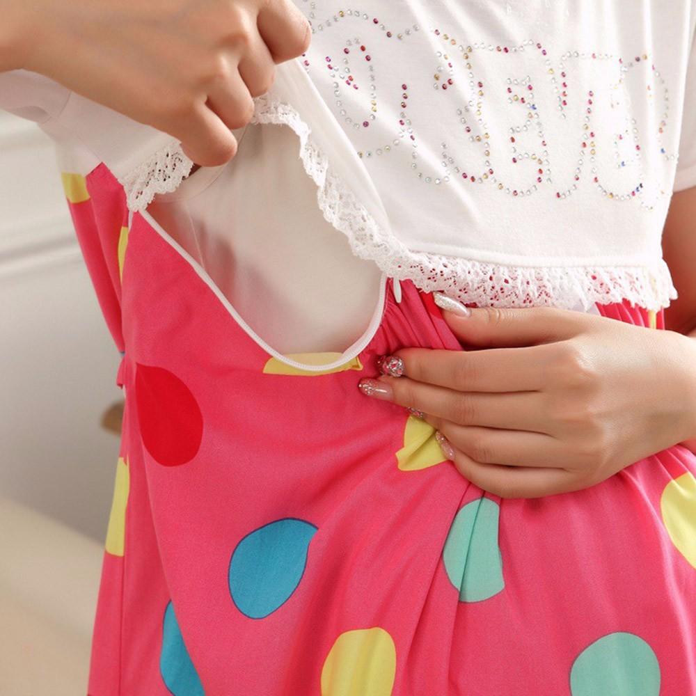 2016 Bawełna Cartoon Sukienka Macierzyński Piżamy Ubrania Dla Kobiet W Ciąży Karmienie Piersią Pielęgniarstwo Piżamy Koszula Nocna Z krótkim Rękawem 35
